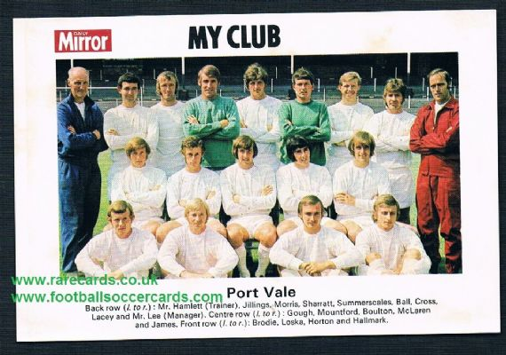 1970 My Club Daily Mirror postcard-size card Port Vale